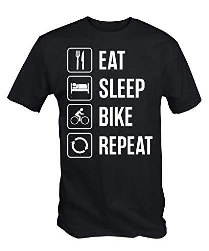 6TN Eat Sleep Moto Repetir Camiseta - Negro, X-Large