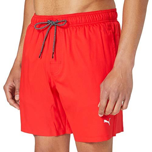 PUMA Mittellange Herren Badehose – Sichtbarer Kordelzug Costume a Pantaloncino, Colore: Rosso, XXL Uomo