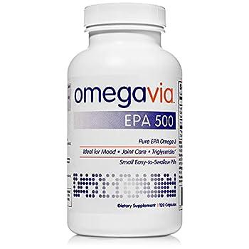 OmegaVia EPA 500 Omega-3 Fish Oil 120 Capsules 500 mg EPA/Pill High-Purity EPA Formula  Triglyceride Form  IFOS 5-Star Certified w/ Fish Gelatin Capsule Gluten-Free Non-GMO