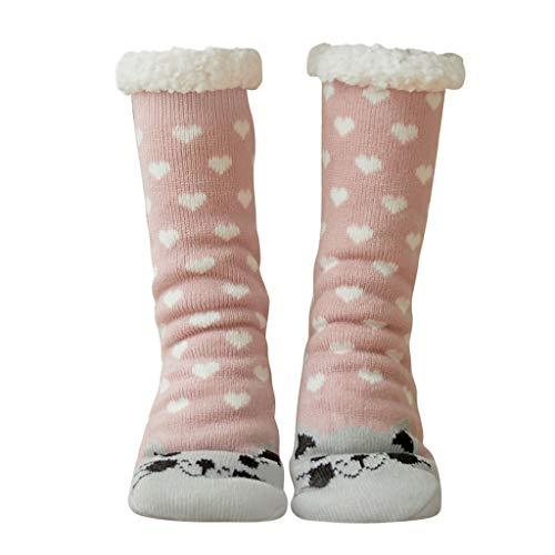Momoxi Fuzzy Socks Hausschuhsocken Kuschelsocken Baumwolle Kompressions Socken Damen 35-42 für Winter Herbst Weihnachten Sport Haussocken Bodensocken Strumpfhose Strümpfe herrensocken