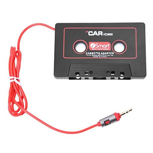 Vrttlkkfe Car Audio Systems Car Stereo Adaptador de Cinta de Cassette para TeléFono MóVil MP3 AUX Reproductor de CD Jack de 3.5 Mm para Camioneta de AutomóVil (Color: Negro)