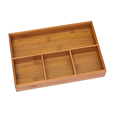 Lipper International 824 Bamboo Wood 4-Compartment Organizer Tray, 11 5/8  x 7 7/8  x 1 3/4