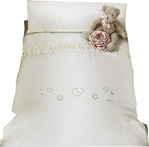 Picci Parure de lit pour bébé et enfant Flora Crème