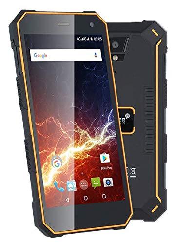 HAMMER Energy Orange Robustes Smartphone Outdoor Wasserdicht 5.0 Zoll + Gorilla Glass 3 +5000mAh, IP68, MIL-STD 810G, Quad-core, 2GB RAM 1.5 GHz, Express-Aufladung, Dual-SIM, Temperaturbeständig