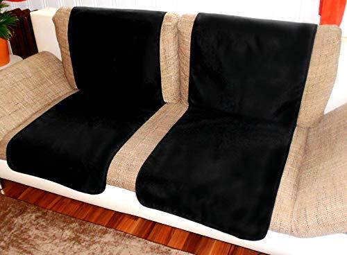 Holzdrehteile Sofaläufer Sesselläufer Überwurf Sesselschoner Schoner Läufer 50 x 140 Lederoptik schwarz