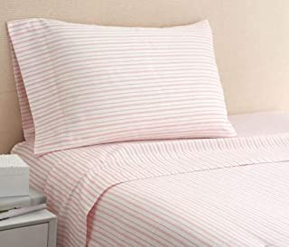 Coastal Life Coral Stripe 300 Thread Count Full Sheet Set in Coral/White