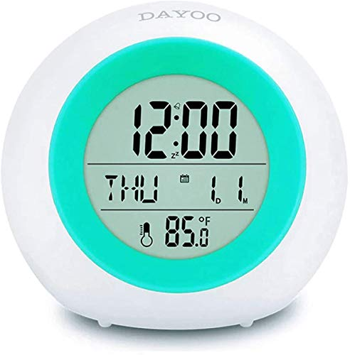 DAYOO LED Kinderwecker [2020 Version], 7 Farben ändern Lichtwecker für Kinder, 8 Klingeltöne,12/24 Stunden,One-Tap-Control,Innentemperaturanzeige für Kinder Mädchen Jungen