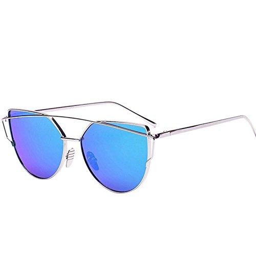 Tonsee Twin-Beams Classic Frauen Metall Frame Spiegel Sonnenbrille Katze(Silber+Blau)