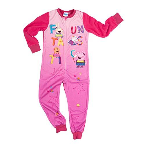 Peppa Wutz – Jumpsuit Mädchen rosa, Kinder Overall Einteiler Schlafanzug (98/104)