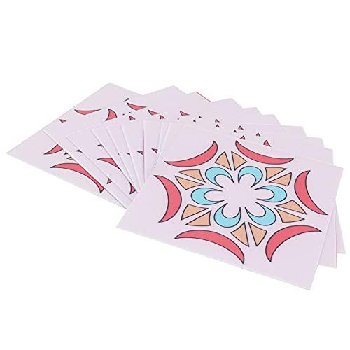 10 piezas de pegatinas de pared para suelo de baldosas, patrón geométrico de colores, para despegar y pegar, para pared, para salpicaduras adhesivas, impermeables, extraíbles, para azulejos(Rosa)