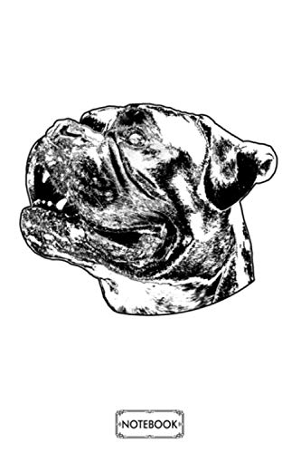 Boxer Dog Head Schwaz Notebook: Diary, Matte Finish Cover, Journal, Planner, 6x9 120 Pages, Lined College Ruled Paper