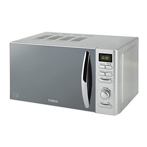 Tower Infinity Digital Solo Microwave with 6 Power Levels, 8 Auto Cook Options, 60 Minute Timer, Defrost Function, Stylish Mirrored Door, 18/10 Steel, 800 W, 20 liters, Silver