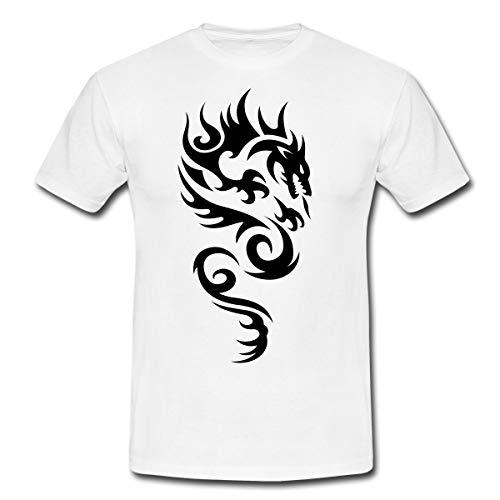 Tribal Dragon Drachen Drache Tattoo Mystisch Männer T-Shirt, XL, Weiß