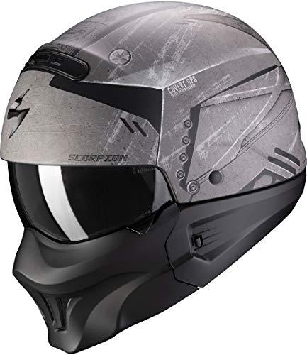 Scorpion Casco de moto EXO-COMBAT EVO INCURSION Matt Silver-Black, Negro/Gris, L