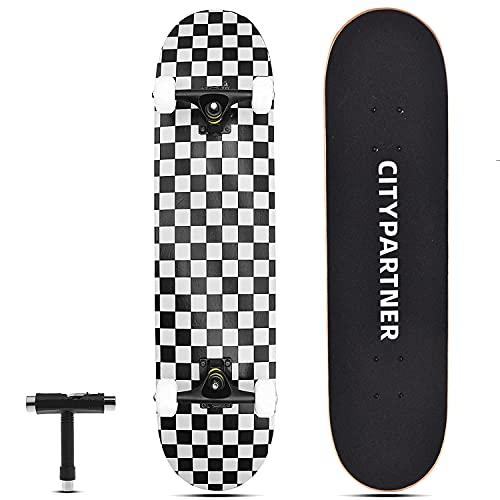 "Skateboards for Beginners, 31""x 8"" Complete Standard Skate Boards for Girls Boys Beginner, 7 Layer Canadian Maple Double Kick Deck Concave Cruiser Tricks Skateboard for Kids Youth Adult Teens (Black)"