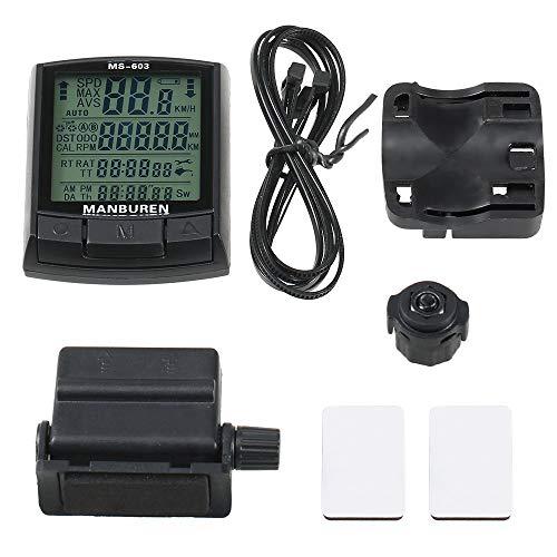 JINSUO BRNW BOGEER wasserdicht Fahrrad-Computer-LAN und Kabel MTB-Fahrrad-Entfernungsmesser Stoppuhr Tacho-Uhr LED Digital Rate (Farbe : Wireless MS 603)