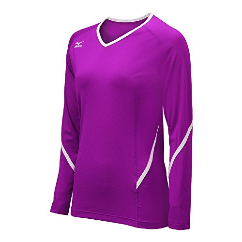 Mizuno Women's Techno Generation Long Sleeve Jersey, Purple/White, Large