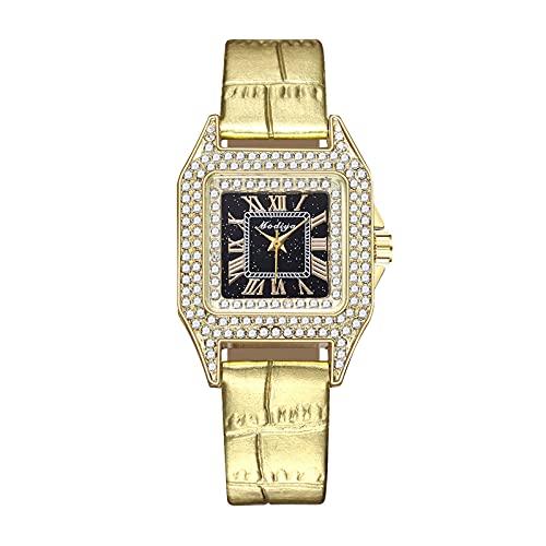 HEling Reloj de cuarzo para mujer New Business Imitación Cinturón Lujo Rhinestone Exquisite Reloj Casual Movimiento de Cuarzo Correa Ajustable Esfera Cuadrada Regalo Vestido, dorado, talla única,