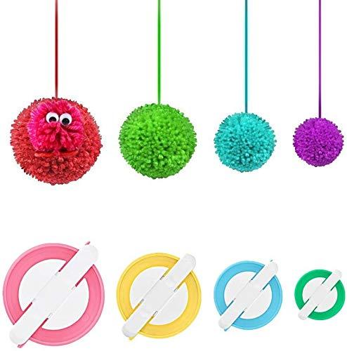 RRigo Pom Pom Maker, 4 Taglie Fluff Ball Weaver Needle Pompom Maker Set-Filato di Lana Maglia Set di Attrezzi per Artigianato -Fai da Te Pompoms Artigianato Doll Making Kit (4)