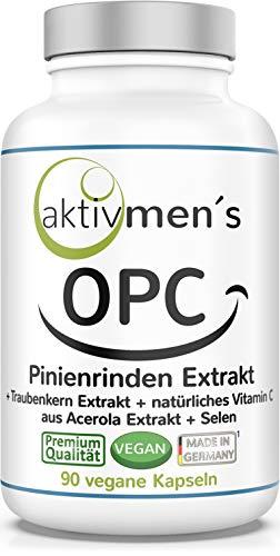 OPC Pinienrinden Extrakt + Traubenkern Extrakt hochdosiert, Vitamin C aus Acerola, Selen, 90 Kapseln, vegan, pflanzlich, 1 Dose, (1 x 54,5 g) aktivmen´s - erlebe was Spaß macht!