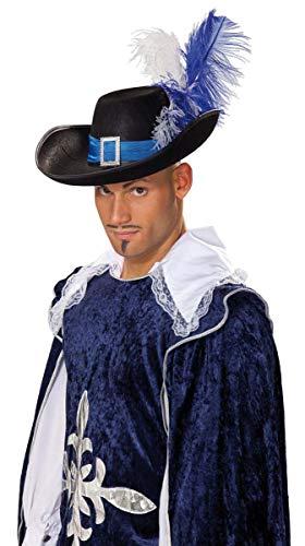 Musketierhut schwarz/blau mit Federn Herren Hut Mittelalter Fasching Mottoparty