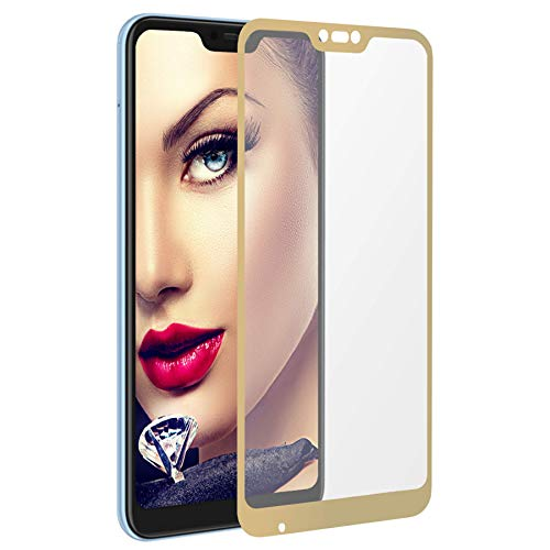 mtb More Energy® Protector de Pantalla Completa para Xiaomi Mi A2 Lite - Redmi 6 Pro (5.84'') - Oro - Vidrio Templado - Cobertura Completa