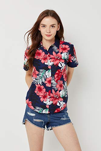 SSLR Women's Printed Short Sleeve Casual Button Down Hawaiian Shirt (Large, Navy(668-65))