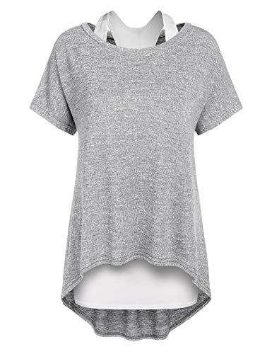 Parabler Damen Lose Asymmetrisch Jumper Sweatshirt Pullover Blusen Oberteile Oversized T Shirt Kurz Ärmel Longshirt Umstandsmode Langshirt Sommer Grau XXL