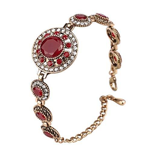 Pulseras bohemias para las mujeres de aleación tibetana roja resina color oro pulsera retro joyería roja