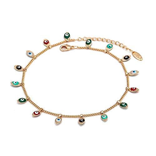 Tobillera con borla de ojo malvado turco multicolor, pulsera de tobillo con cadena de pie de Color dorado ajustable para joyería de mujer