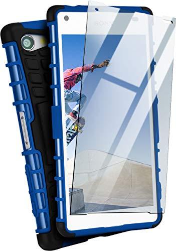 MoEx® Panzer-Schutz Set - Tank Case + Schutzglas passend für Sony Xperia Z5 Compact | Gehärtetes Glas + Extrem robuste Double-Layer Hülle, Blau Schwarz