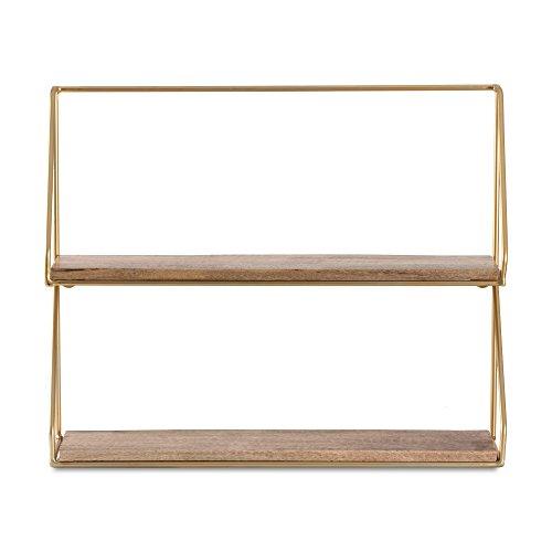 MH London Madeleine Home Wandrek met 2 etages, wandmontage, vergulde accenten, met metalen frame, handgemaakte decoratieve plank voor keuken, woonkamer, slaapkamer, kantoor, Lugo Gold, 2-dier