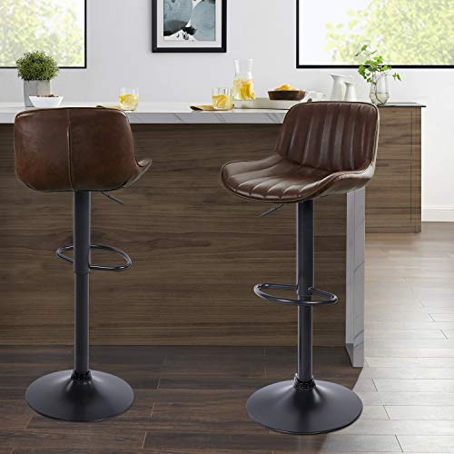 Volans Mid Century Modern Faux Leather Swivel Adjustable Height Bar Stools Set of 2, Counter Height Pub Chair with Back, Black Powder Coated Base, Cognac