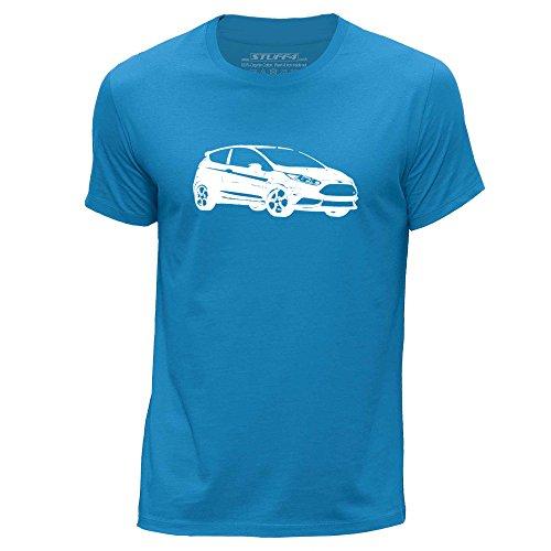 Stuff4 Herren/Klein (S)/Blau/Rundhals T-Shirt/Schablone Auto-Kunst / 13 Fiesta ST