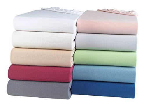 BaSaTex Bio Jersey Spannbettlaken 100% GOTS Zertifizierte Baumwolle | Spannbetttuch in Allen Größen | Kinder- und Babybetten 60x120 – 70x140 cm | Natur