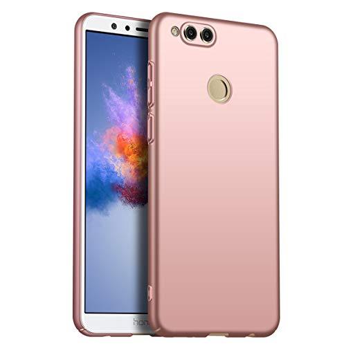 Compatible con Huawei Honor 7X ultrafina, ultrafina, resistente a los golpes, antihuellas, carcasa rígida, carcasa para Huawei Honor 7X (oro rosa)