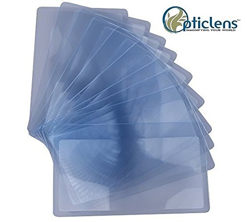 Lot of 12 OpticLens Brand Credit Card Sized Magnifying Lenses. Wholesale Lot - 300% Fresnel Magnifier