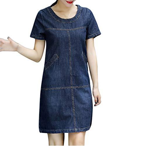 routinfly Sommerkleid Damen Cocktailkleid Abendkleid,Kurzärmliges Jeanskleid Sommer Denim lose O-Ausschnitt Kurzarm knielanges Kleid Lässiges Kleid im schlichten Stil S-5XL