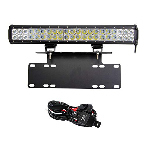 Willpower 126W LED Light Bar 20 Inch Spot Flood Combo Work Lamps with Bull Bar License Plate Front Bumper/Frame Bracket Holder Off Road Lights and Wiring Harness for 4x4 4WD ATV SUV Truck Car -E