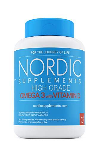 Nordic Supplements Omega-3 Fish Oil 1000mg with Vitamin D, 180 Capsules Supplements - Pure Fish Oil with Balanced EPA & DHA