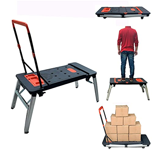 NICCOO Workbenches Mobile,7 in 1 Multi-Function Portable Folding Work Bench/Scaffold Platform/Creeper Carrier/Hand Truck for Miter Saw Stand, Woodworking Tools and Accessories - Easy Garage Storage