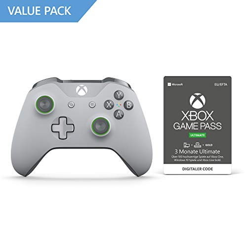 Xbox Wireless Controller, Grau-Grün + 3 Monate Mitgliedschaft | Xbox Game Pass Ultimate [Download Code]