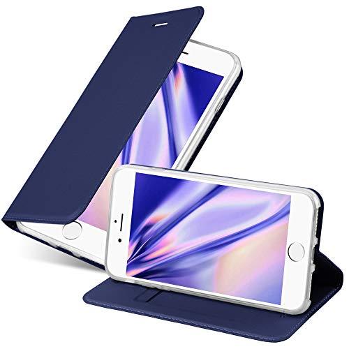 Cadorabo Hülle für Apple iPhone 7 / 7S / 8 / SE 2020 in Classy DUNKEL BLAU - Handyhülle mit Magnetverschluss, Standfunktion & Kartenfach - Hülle Cover Schutzhülle Etui Tasche Book Klapp Style
