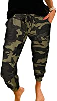 ROSKIKI Women's Drawstring Elastic Waist Casual Comfy Joggers Pants with Pockets