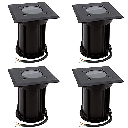 linovum BOQU 4er Set Einbauleuchte Boden Aussen GU10 Fassung - Bodeneinbaustrahler schwarz IP67 eckig Leuchtmittel tauschbar