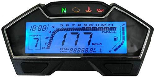 Moto Velocímetro, Universal Moto LCD Digital Velocímetro - Multifunción Velocímetro/Odómetro/RPM/Nivel de Combustible/Agua Temperatura/Aceite/Reloj/Equipo Indicador/Motor Falta - Negro