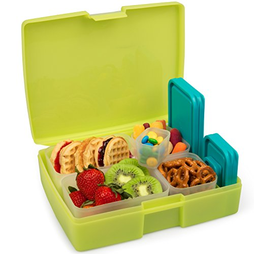 Bentology Bento Lunch Box with 5 Removable Containers – Includes Measurements for Portion Control – On-the-Go Meal and Snack Packing (Translucent Lime)