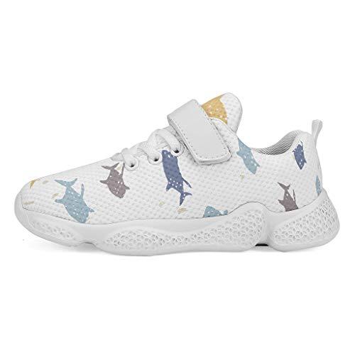 RNGIAN Chaussures de Sport à Semelle compensée pour Filles, Enfant, Blanc, 36