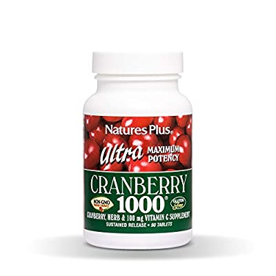 NaturesPlus Ultra Cranberry 1000 mg, 90 Vegetarian Tablets, Sustained Release - Natural Cranberry Supplement - Non GMO, Gluten Free - 90 Servings