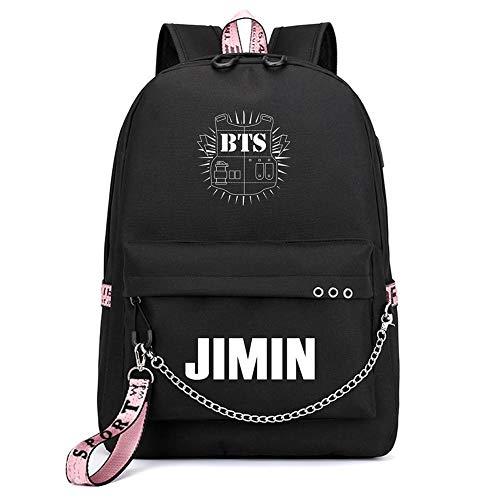 Lelestar Kpop BTS Bangtan Boys Backpack Unisex Casual Schoolbag Laptop Bag College Bag Travel Rucksack Nice Gift for BTS Fans (Black9-JIMIN)